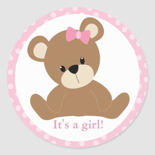Pink Teddy Bear Classic Round Sticker