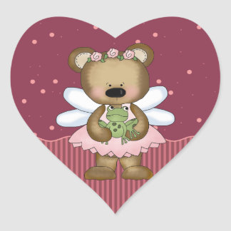 Pink Teddy Bear Fairy Princess Heart Stickers Heart Stickers