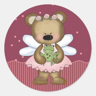 Pink Teddy Bear Fairy Princess Round Stickers Round Stickers