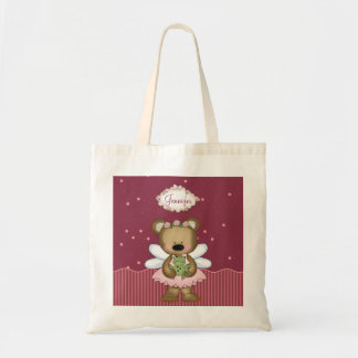 Pink Teddy Bear Fairy Princess Tote Bag