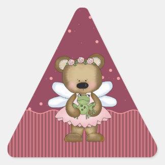 Pink Teddy Bear Fairy Princess Triangle Stickers Sticker