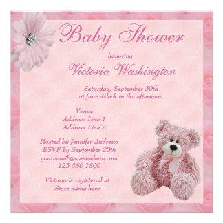 Pink Teddy Bear Flowers Girl s Baby Shower Invite