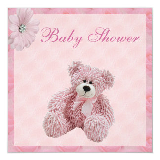 Pink Teddy Bear & Flowers Girl's Baby Shower 13 Cm X 13 Cm Square Invitation Card