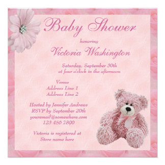 Pink Teddy Bear & Flowers Girl's Baby Shower Personalised Announcements