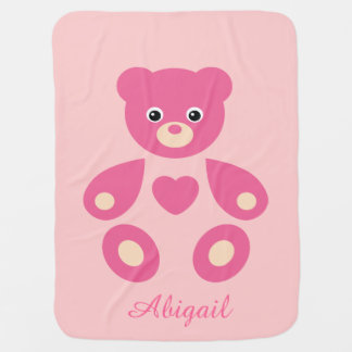 Pink Teddy Bear Monogram Baby Blanket