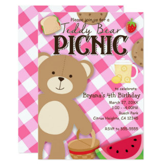 Pink Teddy Bear Picnic Birthday Party Invitation