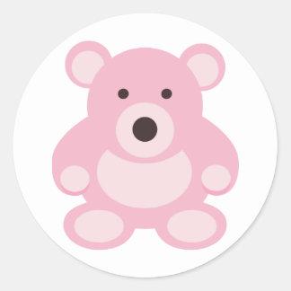 Pink Teddy Bear Round Sticker