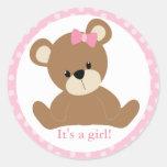 Pink Teddy Bear Round Stickers
