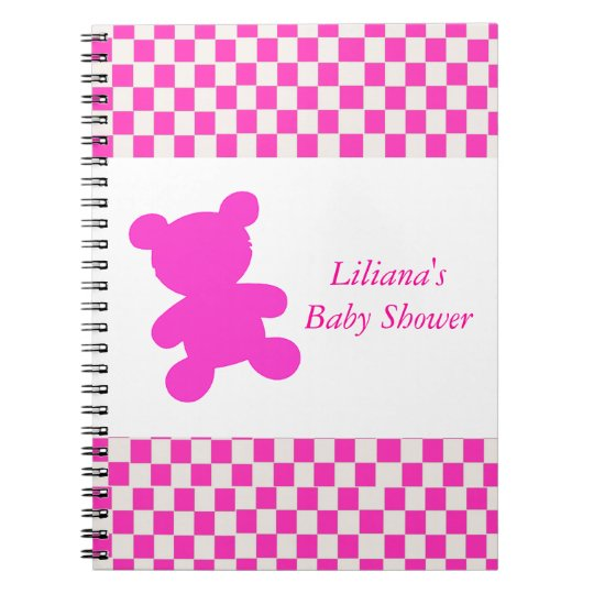 Pink Teddy Bear Shower Notebook
