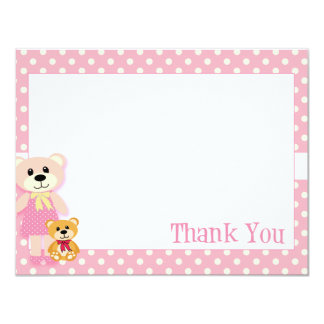 Pink Teddy Bear Thank You Card 11 Cm X 14 Cm Invitation Card