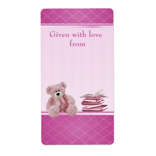 Pink Teddy Bring a Book Baby Shower Bookplates Shipping Label