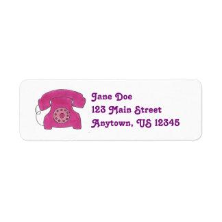 Pink Telephone Return Address Labels