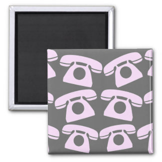 Pink Telephones Square Magnet