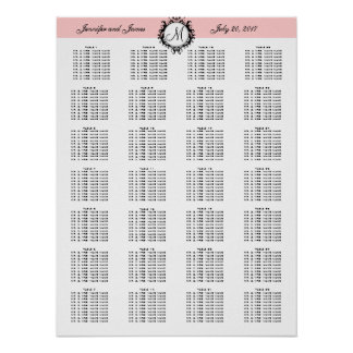 Pink Template Wedding Seating Chart 280 Guests Poster