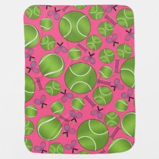 Pink tennis balls rackets and nets baby blanket