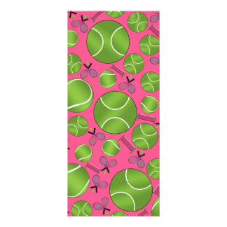 Pink tennis balls rackets and nets full color rack card