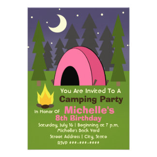 Pink Tent Camping Birthday Party Invitation