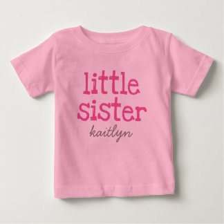 Pink Text Little Sister Add a Name T-shirt