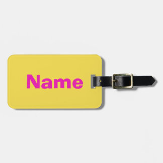 Pink text on Orange background Luggage Tag