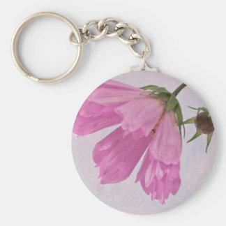 Pink Textured Cosmo Flower Keychain