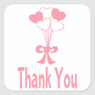 Pink Thank You Ballon Hearts Greeting Stickers