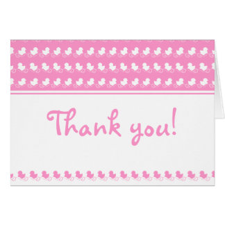 pink thank you card with ducks