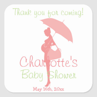 Pink Thank You For Coming Silhouette Baby Shower Square Sticker