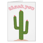 Pink Thank You Green Cactus Note Card