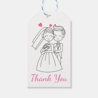 Pink Thank You Wedding Bride & Groom Cartoon Gift Tags
