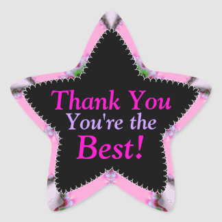 Pink Thank You | You're the Best Star Sticker