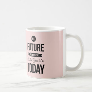 Pink The Future Inspirational Quote Basic White Mug
