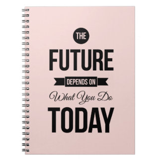 Pink The Future Inspirational Quote Notebook