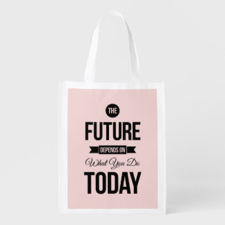 Pink The Future Wise Words Quote Reusable Grocery Bag