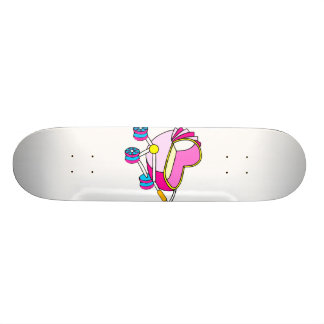 Pink theme baby carriage graphic skateboards