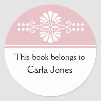 Pink This Book Belongs To Labels Round Sticker