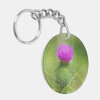 Pink thistle flower beautiful photo Double-Sided round acrylic key ring