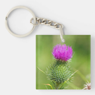 Pink thistle flower beautiful photo Double-Sided square acrylic keychain