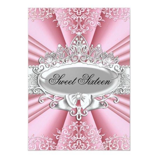 Pink Tiara & Damask Sweet 16 Birthday Party Card