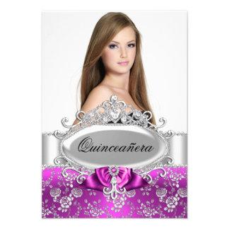 Pink Tiara & Floral Rose Quinceanera Invite
