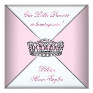 Pink Tiara Little Princess First Birthday Party 13 Cm X 13 Cm Square Invitation Card