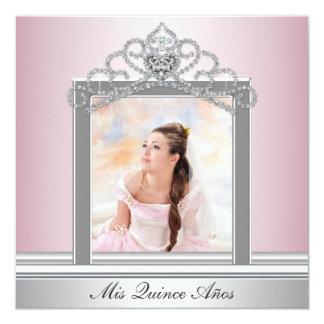 Pink Tiara Pink Photo Quinceanera 13 Cm X 13 Cm Square Invitation Card