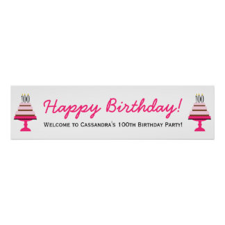 Pink Tier Cake 100th Birthday Party Banner Poster