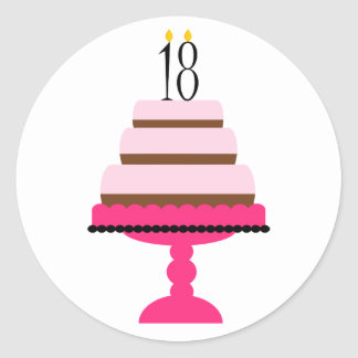 Pink Tiered Cake 18th Birthday Stickers
