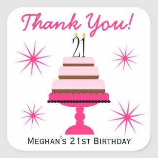Pink Tiered Cake 21st Birthday Favor Stickers