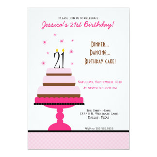 Pink Tiered Cake 21st Birthday Party Invitation