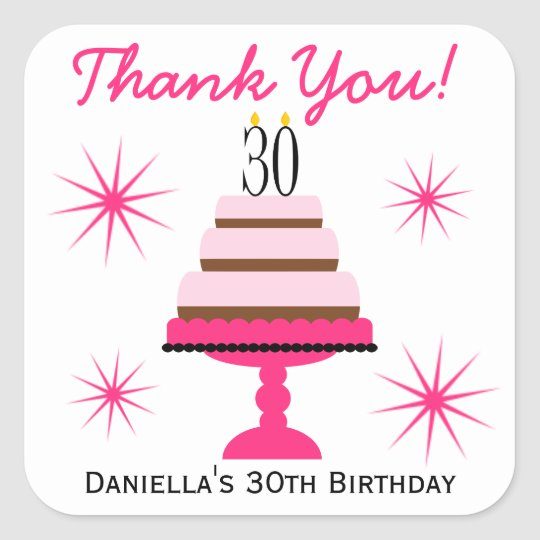 Pink Tiered Cake 30th Birthday Favour Stickers