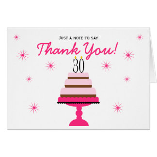 Pink Tiered Cake 30th Birthday Thank You Note Card