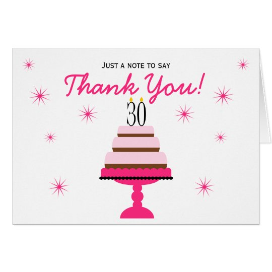 Pink Tiered Cake 30th Birthday Thank You Note