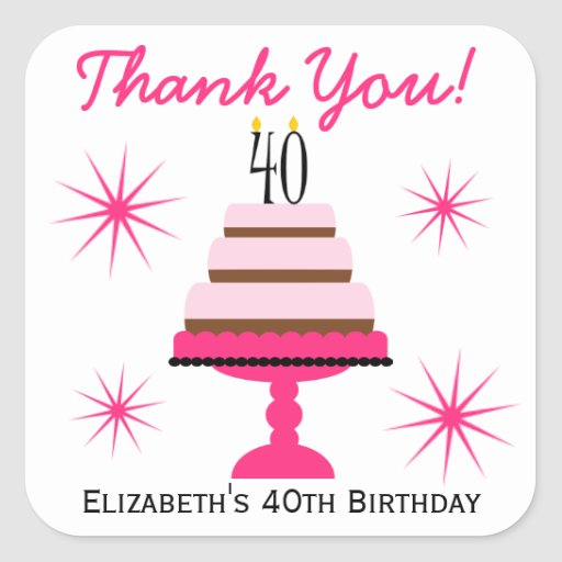 Pink Tiered Cake 40th Birthday Favor Stickers