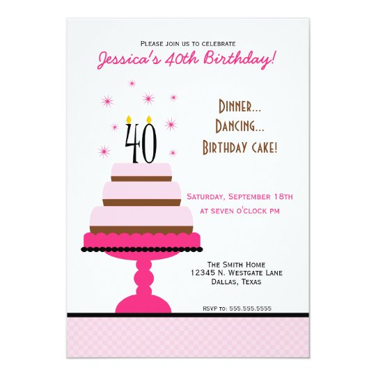 Pink Tiered Cake 40th Birthday Party Invitation